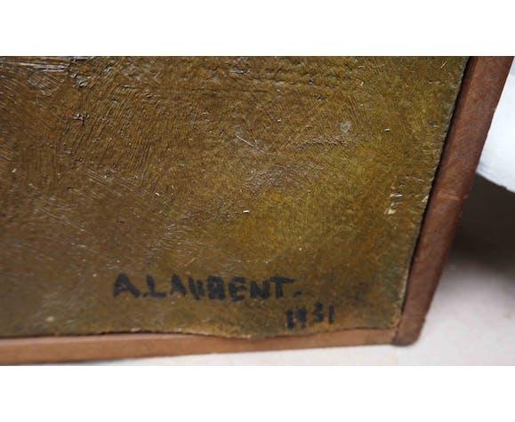 Nature morte aux pommes datée de 1931 signée A. Laurent