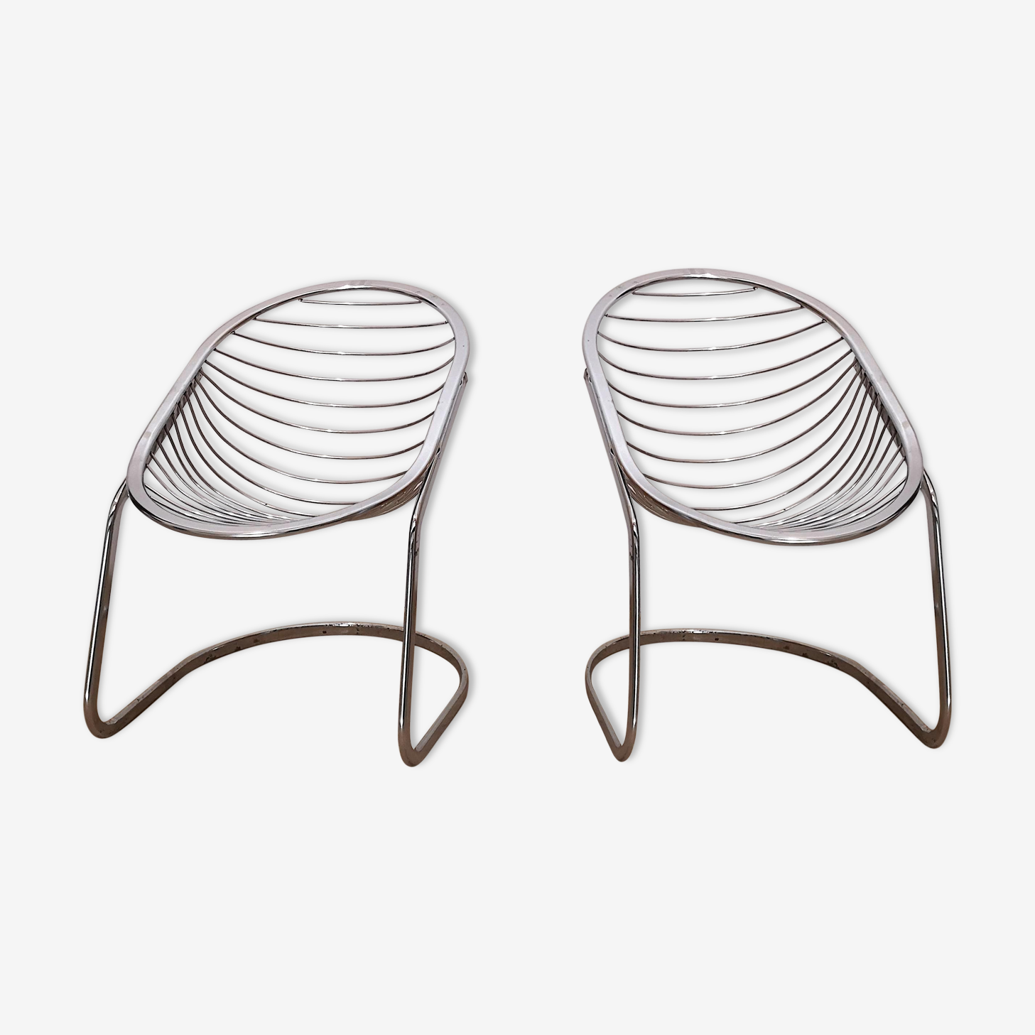 Details on pair of armchairs chrome vintage Gastone Rinaldi, 1970