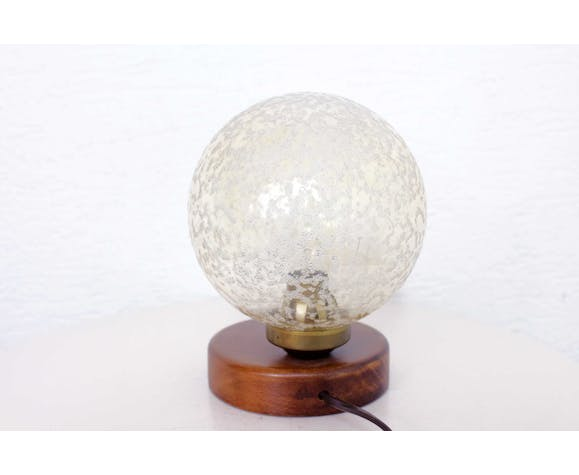 Wood table lamp and frosted glass 60s