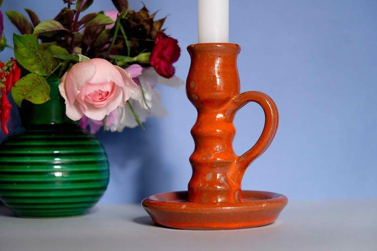 Bougeoir en céramique de Vallauris rouge des années 50
