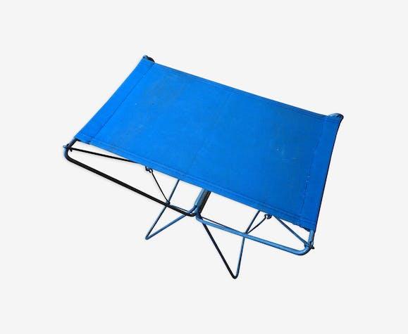 Tabouret pliant métal et tissus bleu vintage 60s