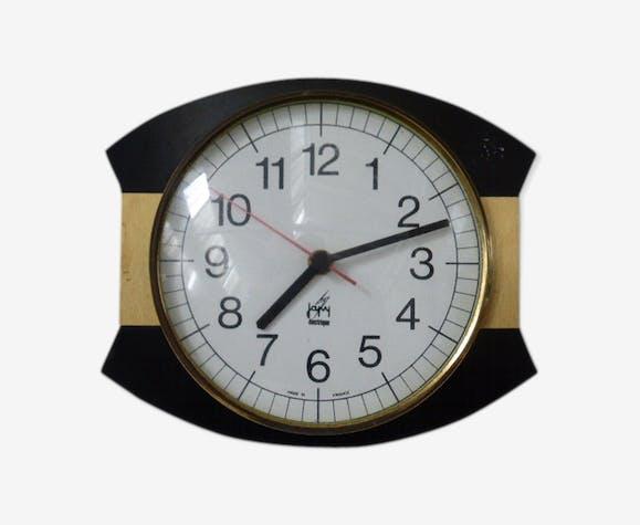 Horloge Japy Electrique vintage 1960 design noir et doré