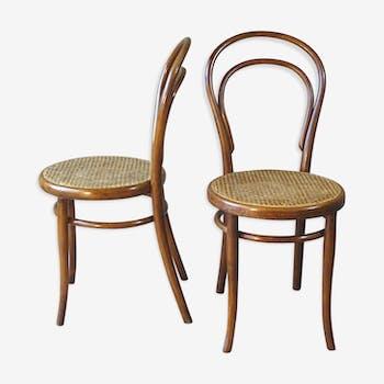 Set de 2 chaises Thonet bistrot cannées N°14 1900