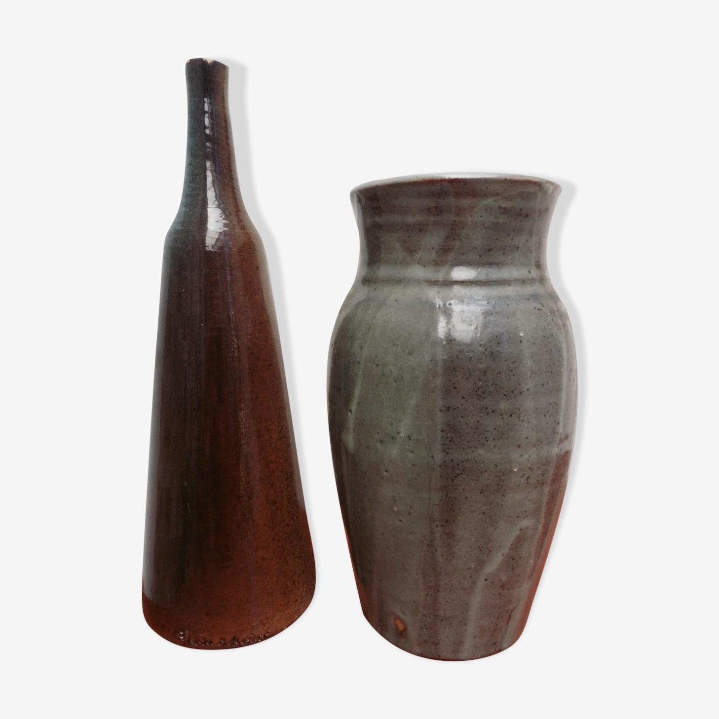 Duo de vases en grès vernissés