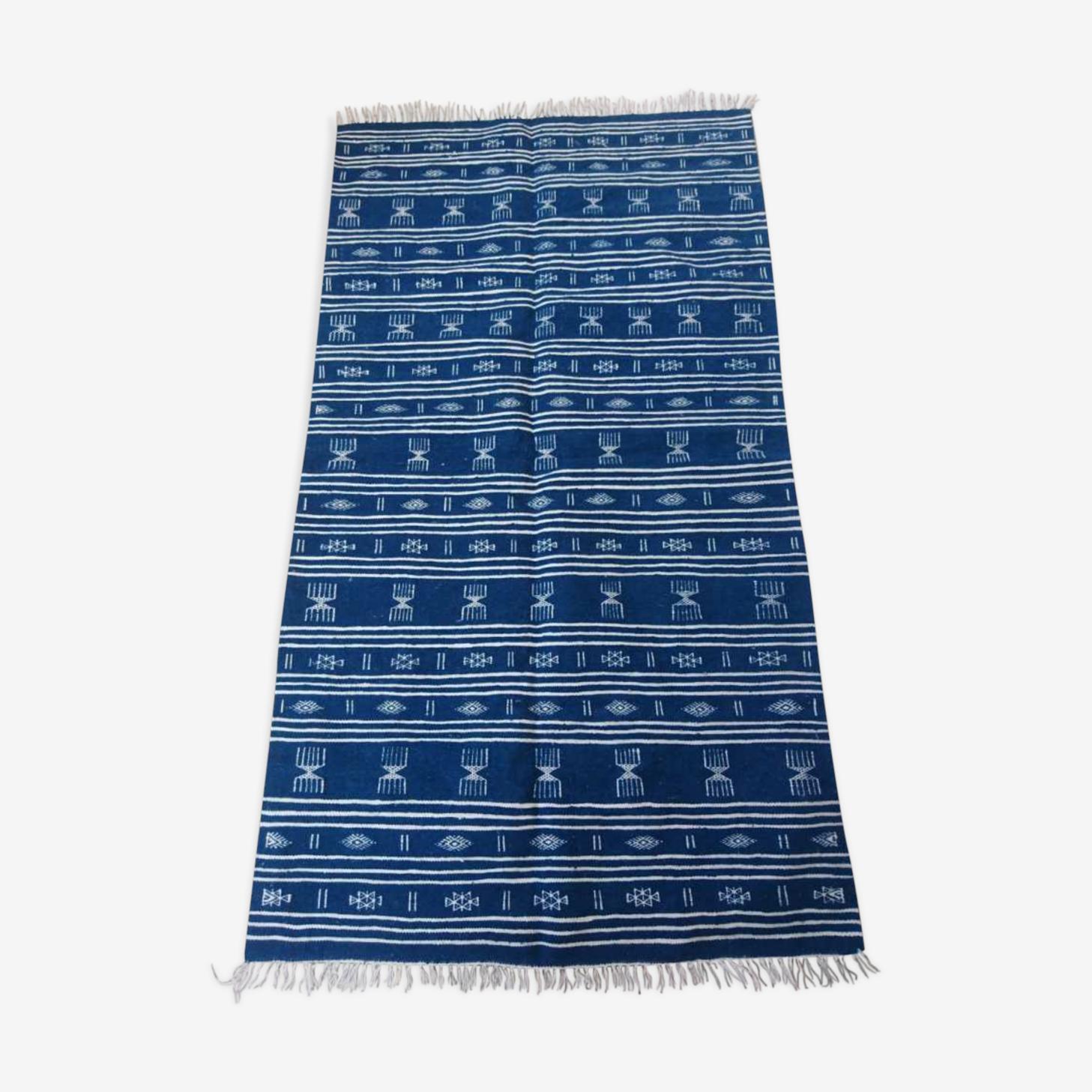 Handmade blue and white kilim rug 110x205cm