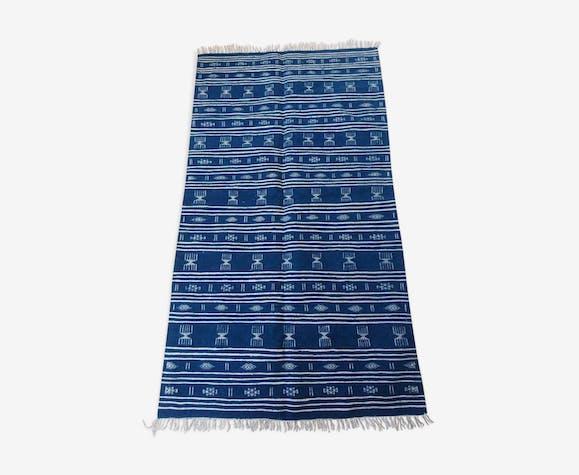 Kilim bleu et blanc fait à la main 110x205cm
