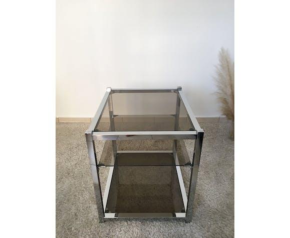 Table d'appoint acier verre fumé 70