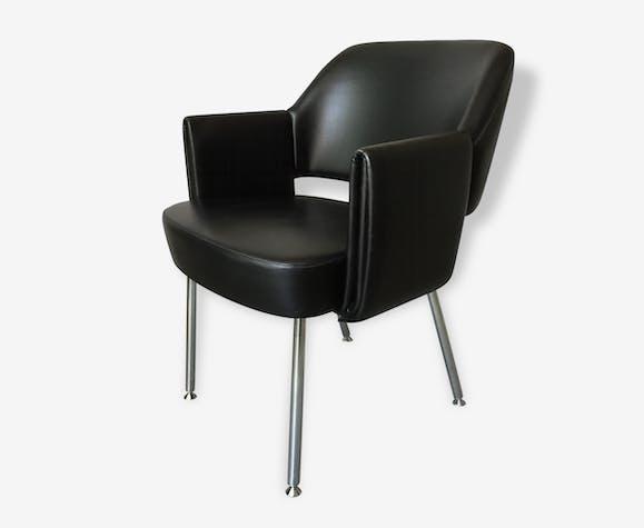 un fauteuil designer - skaï - noir - vintage - 103248