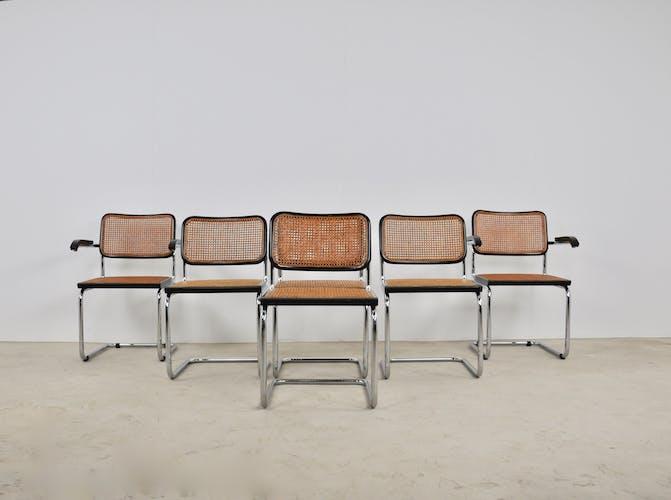 Ensemble de 4 chaises B32 et 2 fauteuils B34 par Marcel Breuer