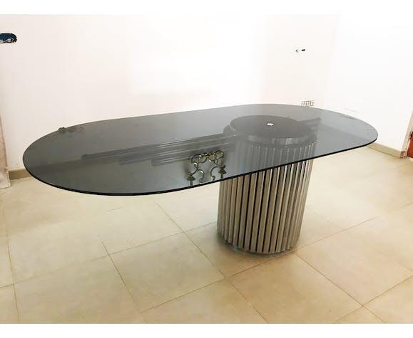 Gastone Rinaldi table metal with glass 1970