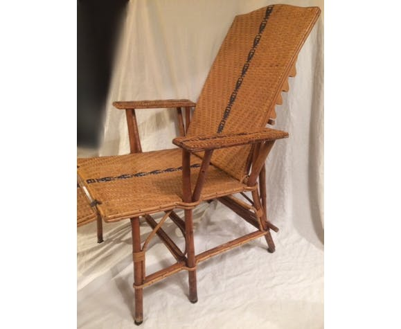 Long chair in rattan mid-20th century