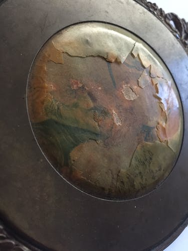 Old bronze hand mirror 27x12cm