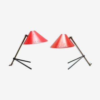 Set de lampes Pinocchio rouge par H. Th. J. A Busquet pour Hala