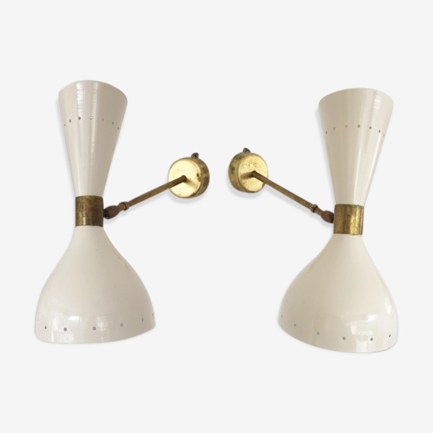 Paire d'appliques dans le style des créations italiennes des années 50