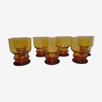 Ensemble de 7 verres jaune vintage des années 70