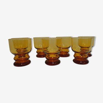 Set of 7 glass yellow 70s vintage