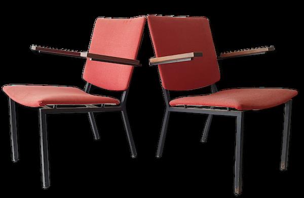 Martin Visser, édition Spectrum : paire de fauteuils framboise 1960 vintage sixties