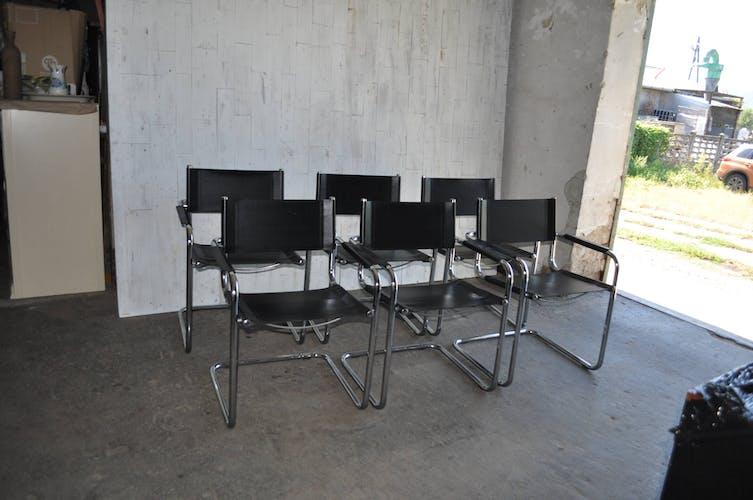 Lot de 6 chaises de salle à manger italiennes chromées modèle S34 de Mart Stam, années 1970