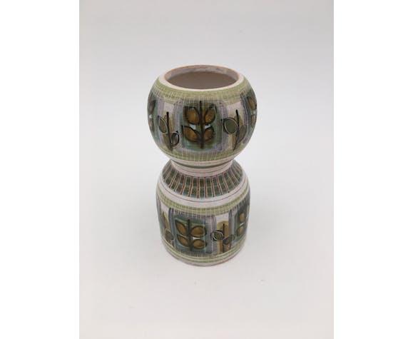 Dominique Guillot, Vallauris - Vase céramique  décor polychrome vert, beige et ocre - années 1950