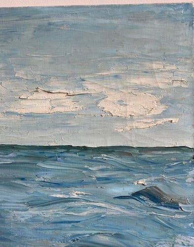 Tableau ancien, bateaux à quai , signé et daté octobre 65