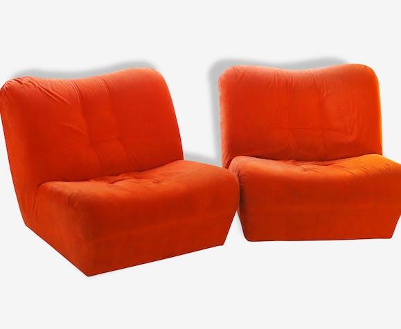 Paire De Chauffeuses Fauteuil Orange Tissu Orange Vintage - Fauteuil orange