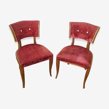 Paire de chaises en bois des années 50