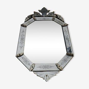 Venetian glass mirror octagonal 55x100cm
