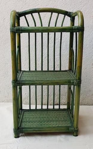 70's green rattan bedside shelf