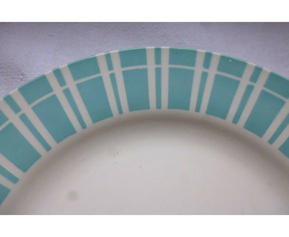 Assiette plate Digoin Sarreguemines faience bleu vintage
