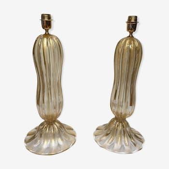 """Paire de lampes de tables en verre de Murano doré signées """"Pauly Murano"""" (1980)"""