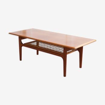 Danish coffee table with rattan shelf