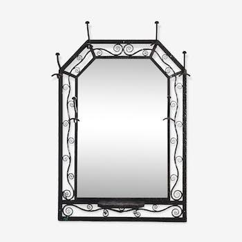 Miroir de couleur noire vintage d 39 occasion for Miroir fer forge noir