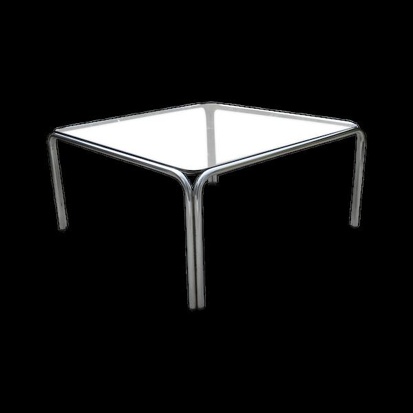 Table basse carrée design metal chrome verre fumé