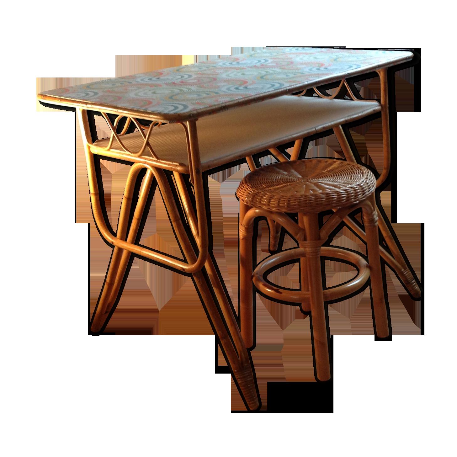 Bureau rotin osier relooké et son assise vintages rotin et osier