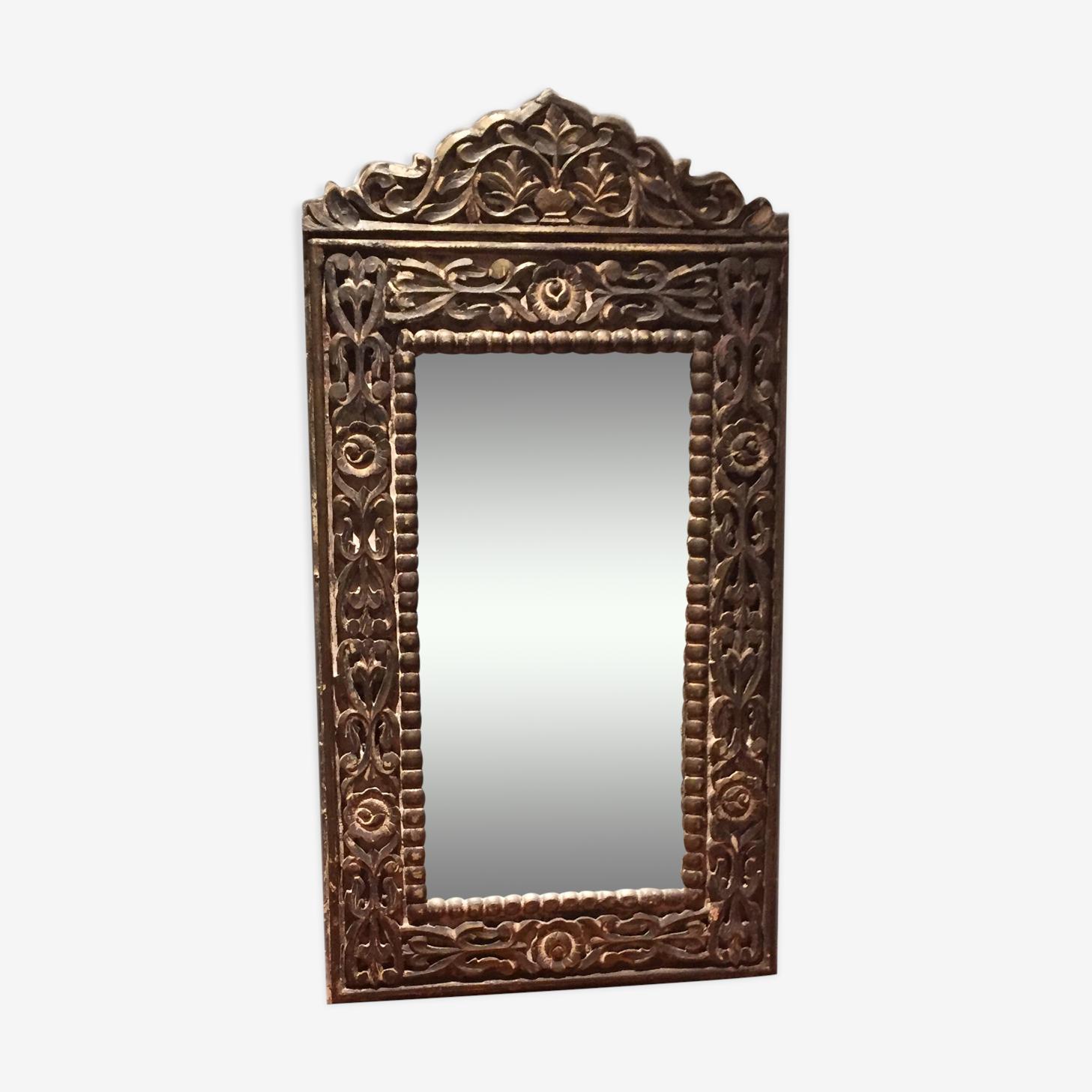 Miroir indien en bois sculpté 112x61cm