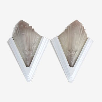 Pair of art deco-style pressed glass sconces