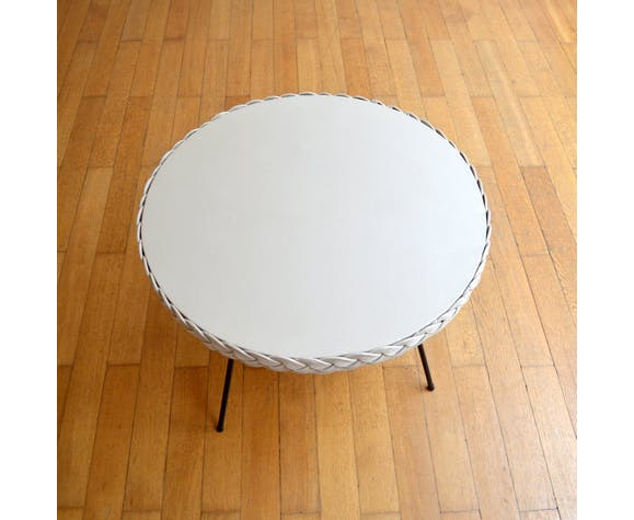 Table basse rotin osier vintage