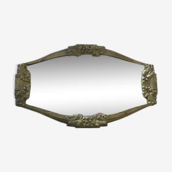Miroir Art Déco en métal doré - 39x23cm