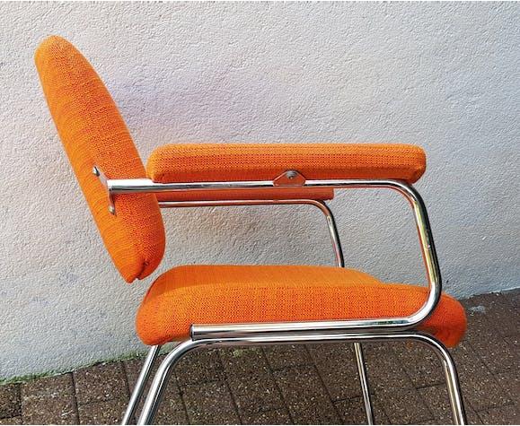 Orange fabrics and chrome armchair 70