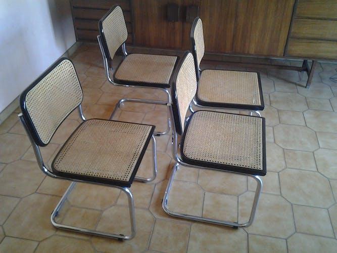 Series of 4 chairs model cesca B 32 Marcel Breuer