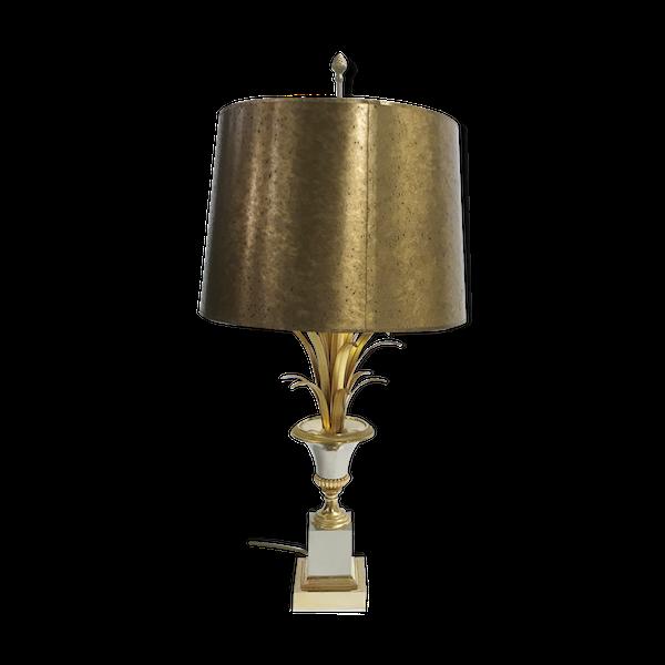 Lampe de table de feuille d'ananas de laiton des années 60