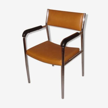 Chair with armrests of 1970/80, chrome & orange leatherette