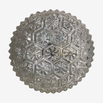 Applique plafonnier rond verre moulé forme fleurs & support métal vintage