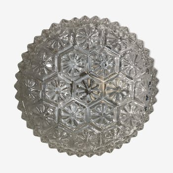 Wall ceiling round glass shape flowers & support vintage metal