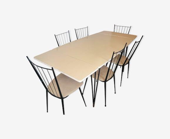 ensemble table de salle manger et chaises en formica vintage annes 50 - Ensemble Table A Manger Et Chaises