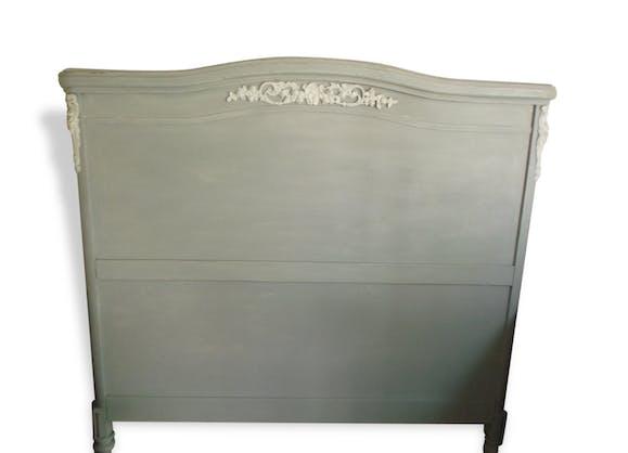 tete de lit patin e l 39 ancienne bois mat riau gris classique 102417. Black Bedroom Furniture Sets. Home Design Ideas