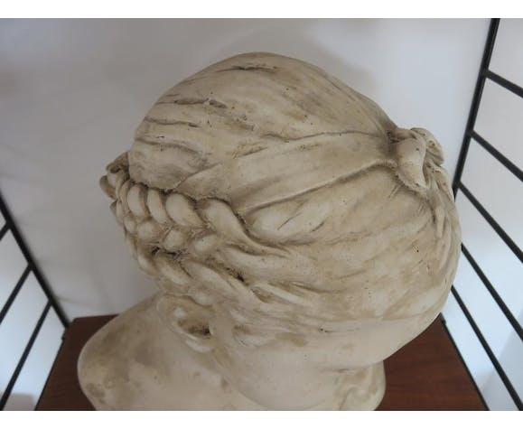 """Buste en plâtre """"La Florentine"""" dite """"La Rieuse"""" d'après Jean Baptiste Pigalle numérotée et signée"""