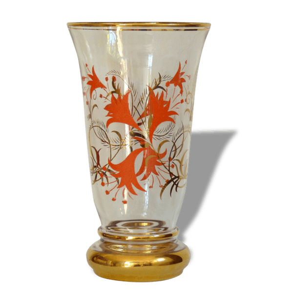 vase en verre avec d cor de fleurs 60 39 s verre et cristal multicolore vintage 16361. Black Bedroom Furniture Sets. Home Design Ideas