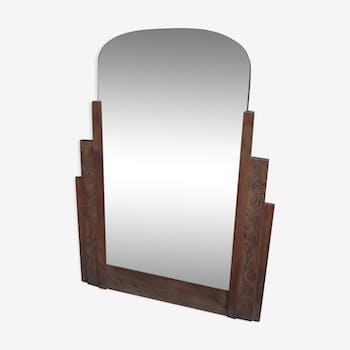 Miroir biseauté art déco chêne brut 68x90cm