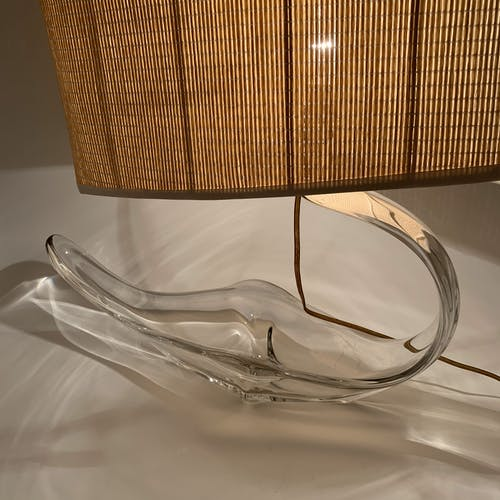 Lampe bateau pirogue en cristal abat jour canné